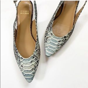 Stuart Weitzman Leather Python Slingback Flats